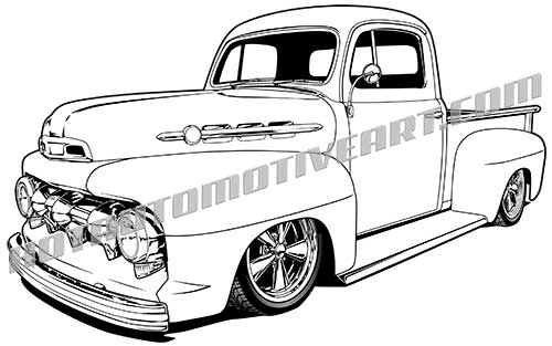 1951 ford custom truck vector clip art  buy two images