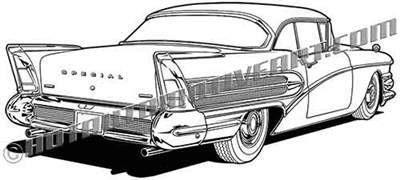 1958 Buick Special rear view clip art