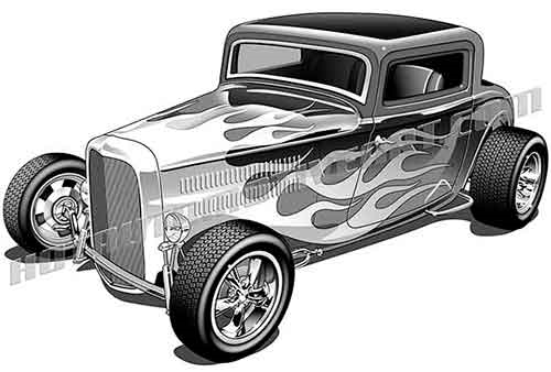 1932 ford three window coupe with flames clip art buy two images rh hotautomotiveart com hot rod clipart vector free hot rod clipart free