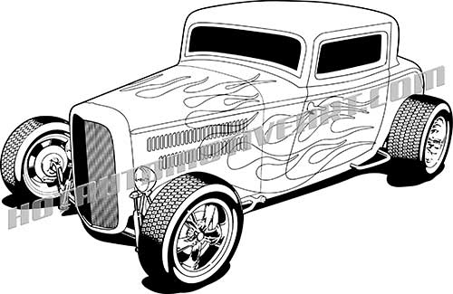 1932 ford hot rod vector clipart high quality blackline rh hotautomotiveart com hot rod clipart free hot rod clipart vector