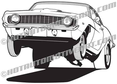 1969 camaro muscle car wheelie clip art