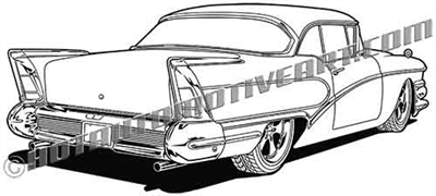 1958 Buick Custom rear view clip art