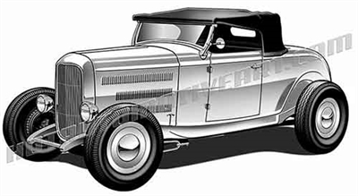 1932 ford highboy convertible clip art 3/4 view