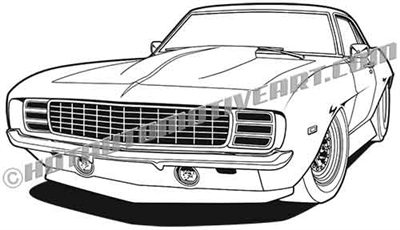 1969 camaro lowered muscle car clip art