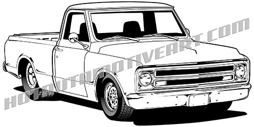 1967 chevy pickup clipart  high quality vector black line art