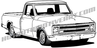 1967 chevy custom pickup clip art - left side view
