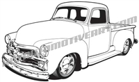 1954 Chevrolet custom truck clip art - left side view