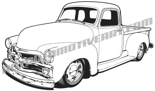 1954 chevy custom truck clipart, vector black line, high