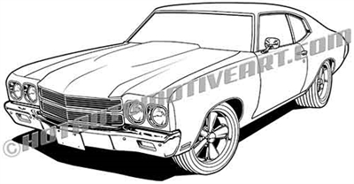 1970 chevy chevelle clip art side
