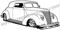 1937 ford hot rod convertible clip art 3/4 view