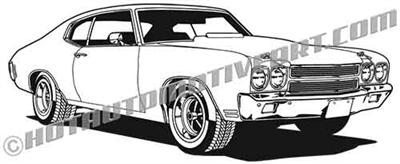 1970 chevy chevelle clip art side 3/4 view