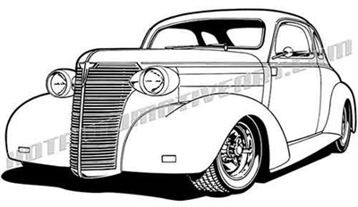 1938 chevy hot rod clip art 3/4 view