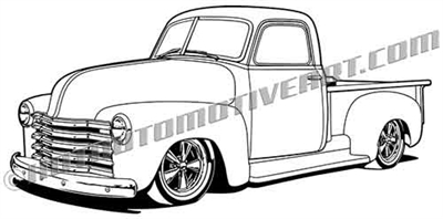 1950 Chevy pickup clipart - left side 3/4 view