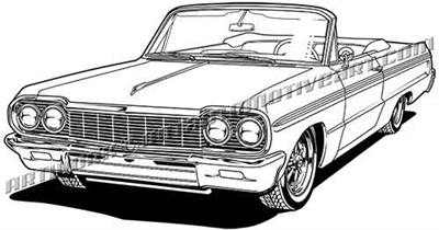 1964 chevrolet impala convertible vector clip art 3/4 view