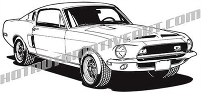 1968 ford mustang shelby clip art