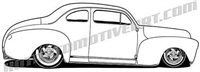 1940's hot rod side view clip art