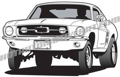 1967 ford mustang wheelie clip art 3/4 view