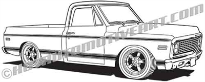 1972 Chevy custom pickup clip art