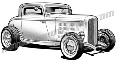 1932 ford hot rod deuce coupe clip art