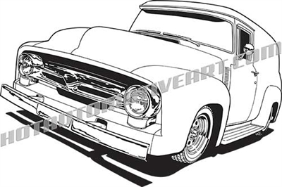 1956 ford f-100 panel truck clipart, front 3/4 view
