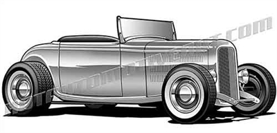 1932 ford hot rod roadster clip art 3/4 view