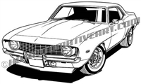 1969 camaro muscle car clip art
