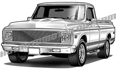 1972 Chevy pickup clip art- left side view
