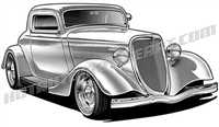 934 ford hot rod clip art 3/4 view