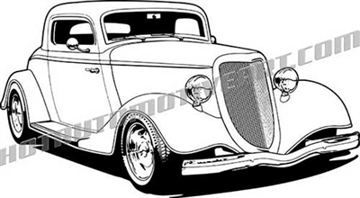 '34 ford 3 window coupe - 3/4 view