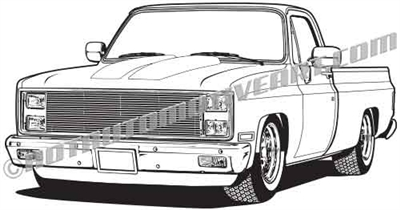 1982 Chevy custom pickup clip art