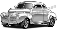 1940 Plymouth hot rod clip art 3/4 view