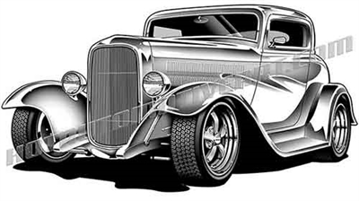 1932 ford custom hot rod clip art low 3/4 view