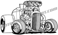 1932 ford convertible cartoon clip art 3/4 view