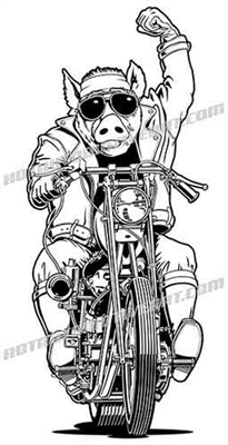 hog on a harley clip art front view