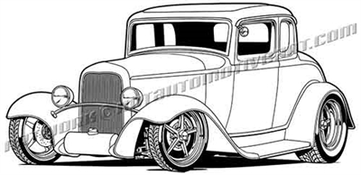 1932 ford five window coupe hotrod vector clip art 3/4 view