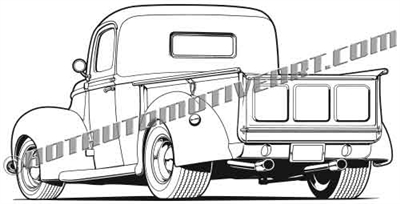 1940 Ford hot rod pickup clip art