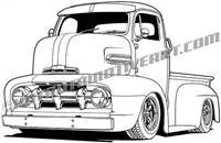 1951 ford custom cabover truck clip art