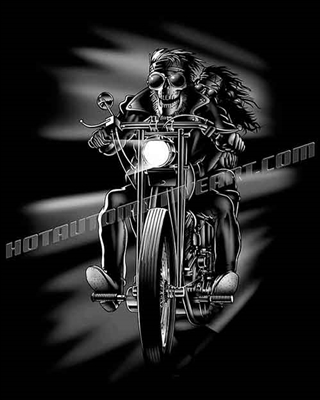 skull biker with chick on a chopper clip art