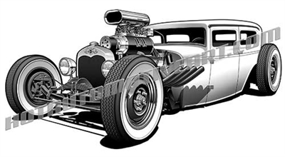 rat rod clip art low 3/4 view
