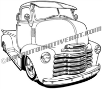 1950 Chevy cabover clip art, 3/4 view