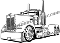 Kenworth semi truck vector clip art, 3/4 view