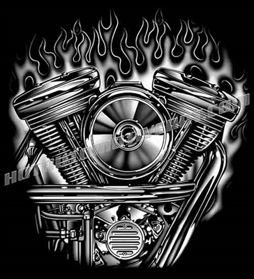 harley evolution motor with flames clip art