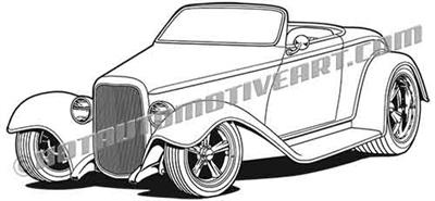 1932 ford roadster hot rod clip art 3/4 view