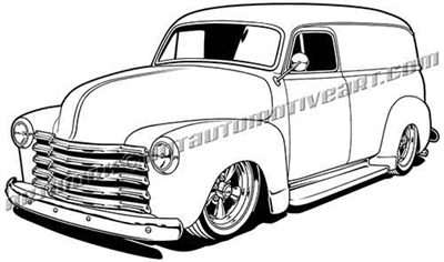 1948 to 1953 Chevy panel truck clip art, 3/4 view