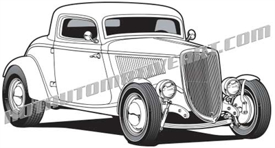 1934 ford classic 3 window coupe clip art