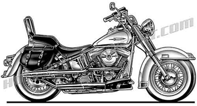 harley bagger motorcycle 3/4 view clip art
