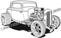1932 ford custom hot rod clip art 3/4 view