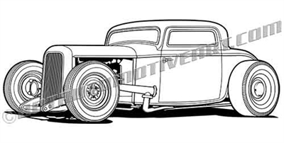 1932 ford Rat Rod clip art 3/4 view