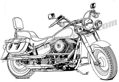 Harley davidson softail motorcycle clip art side view