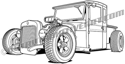 1925 Ford Rat Rod Vector clip art 3/4 view